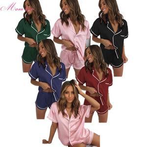 Women Pajamas Set Notch Collar satin Sleepwear Pjs Short Sleeve Button Down Nightwear with shorts