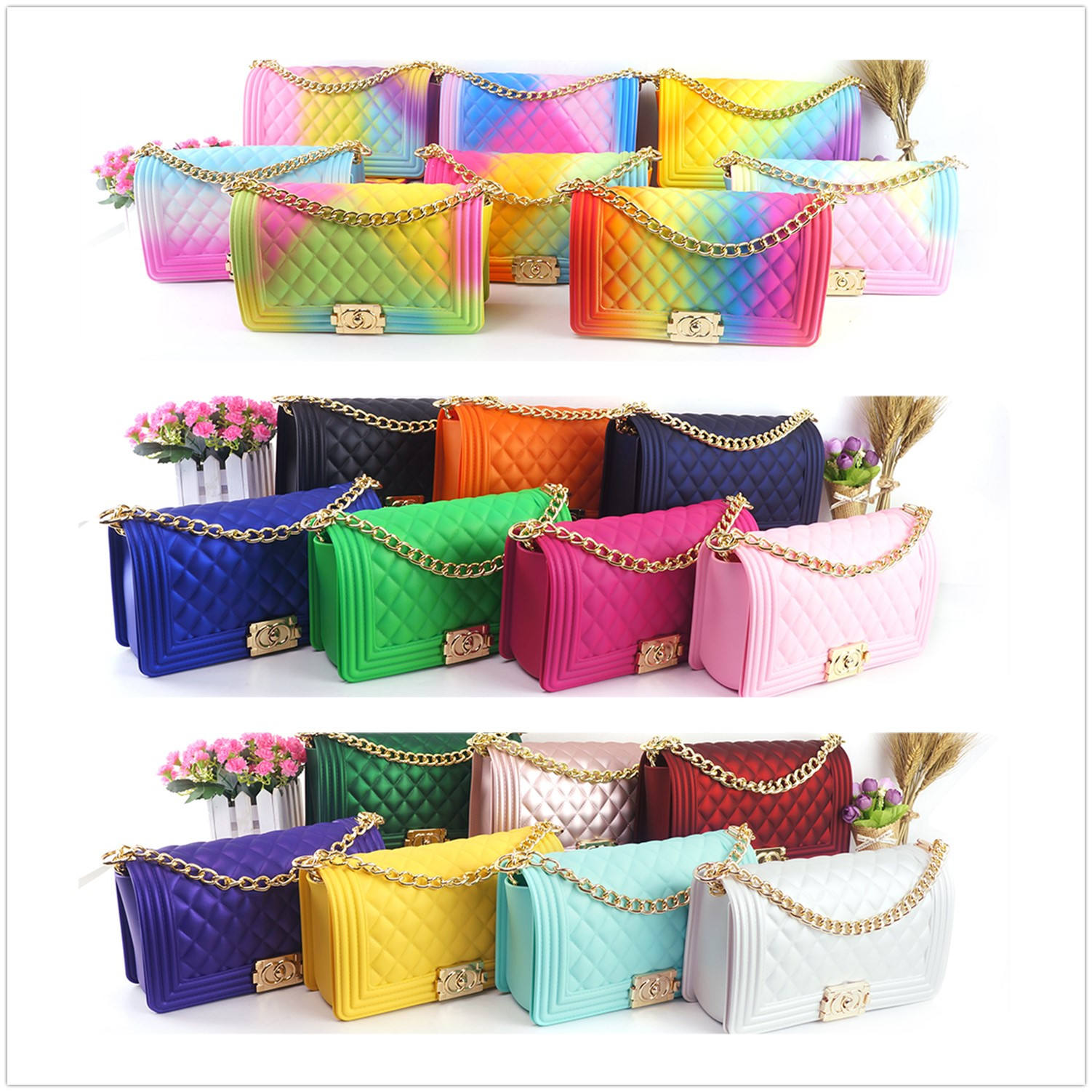 2020 Fashion luxury rainbow hand bags chain lady colorful candy pvc bags women handbags ladies jelly purse and handbags