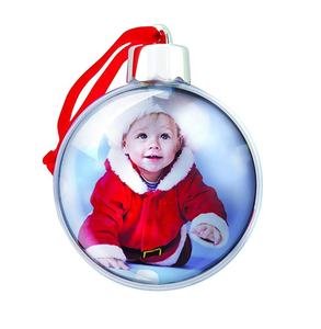 Wholesale plastic christmas ball glass christmas flat ball ornaments Photo Ornament Ball