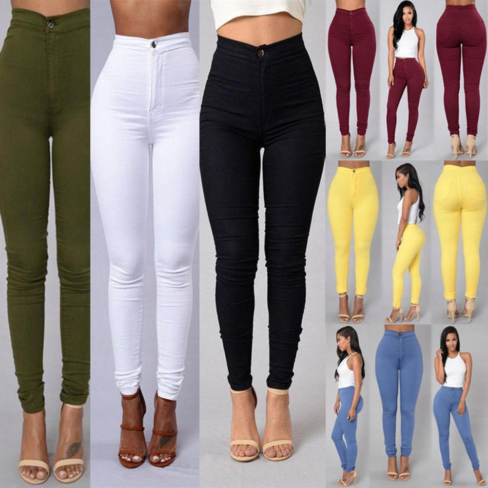 Women'S Skinny Pants Candy Color Slim Stretch Legs Basic Casual Women Pants Women's High Waist Jeans