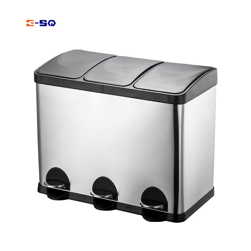 Office 60L large pp plastic bucket 3 compartments garbage waste dustbin