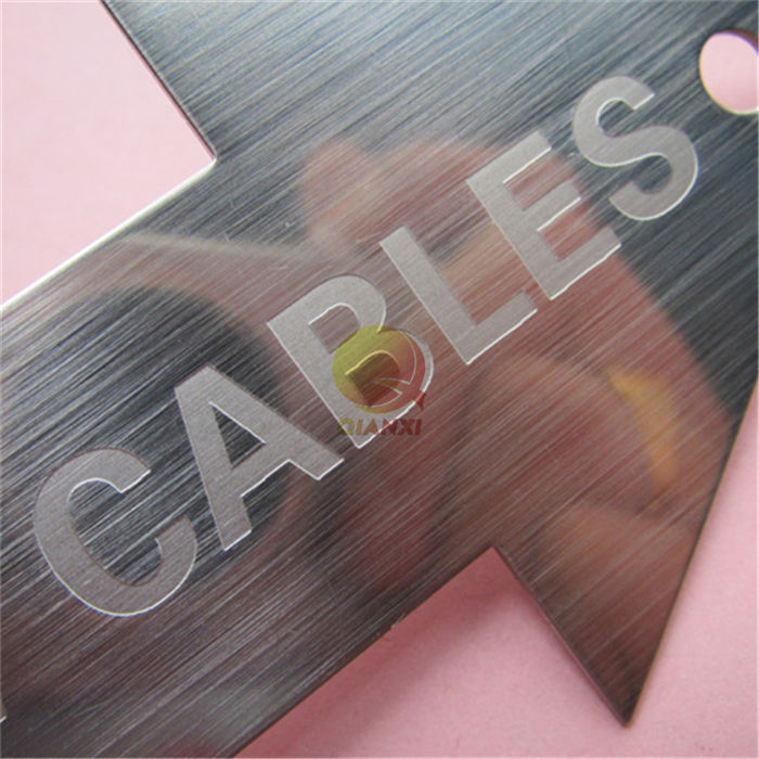 Acid etched stainless steel brass nameplate Laser etch engraved die cut label sticker