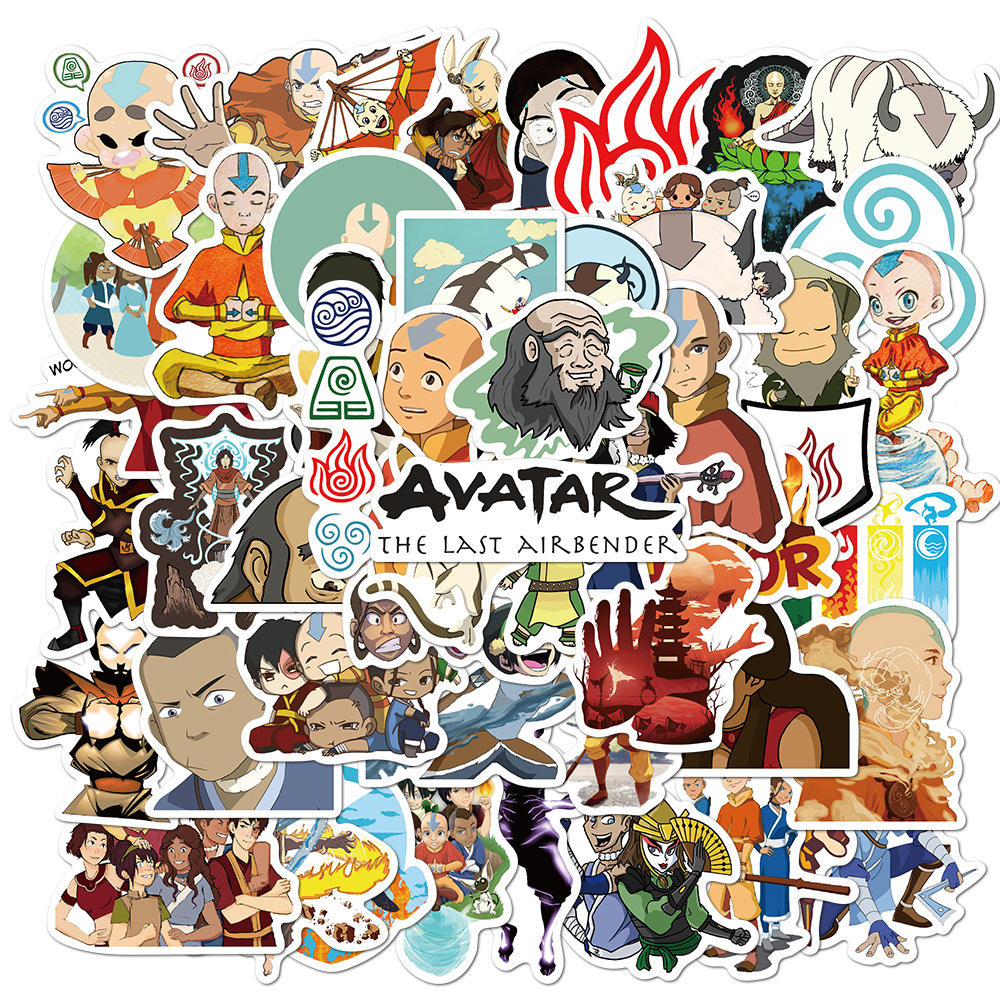 50Pcs <span class=keywords><strong>Anime</strong></span> Avatar The Last Airbender Decals Gepersonaliseerde Helm Skateboard Gitaar Camera Auto Waterdichte Graffiti Stickers