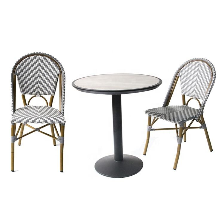 Brand New Garden Dining Room Table And French Aluminum Bistro Outdoor High Back Chair Colored Rattan Wicker Chairs