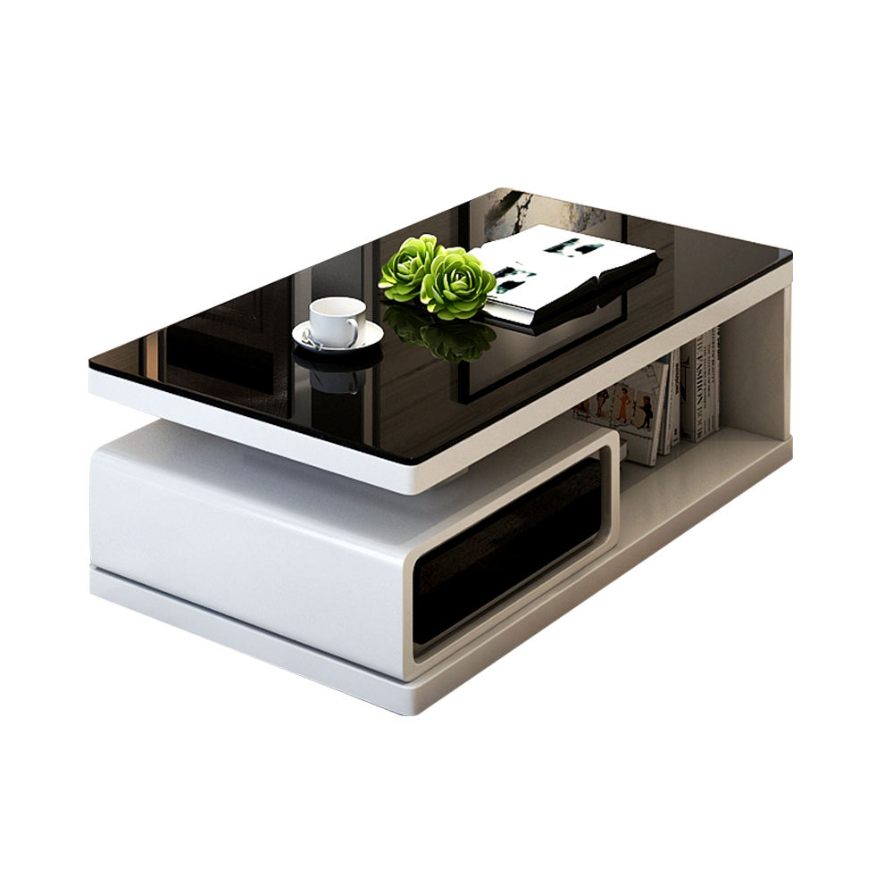 Modern Wooden Furniture Unit Gloss 2 Drawers Living Room TV Stand Sofa Popular Luxury Coffee Table