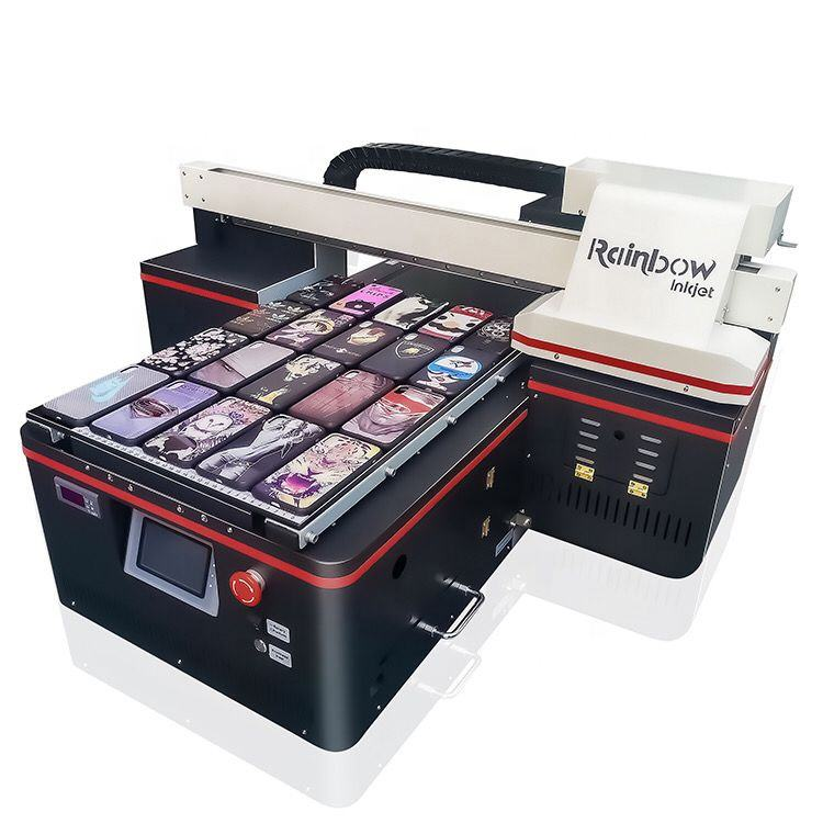 Regenboog Logo Printer 3d Embossing Machine Metalen Foto A2 Uv Flatbed Drukmachine Voor Business
