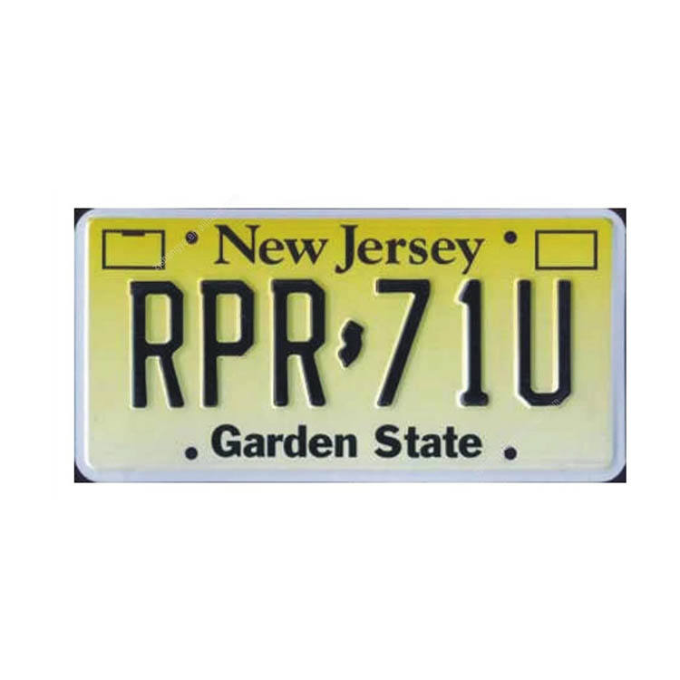 Custom cheap logo blank motorcycle New Jersey car license plate