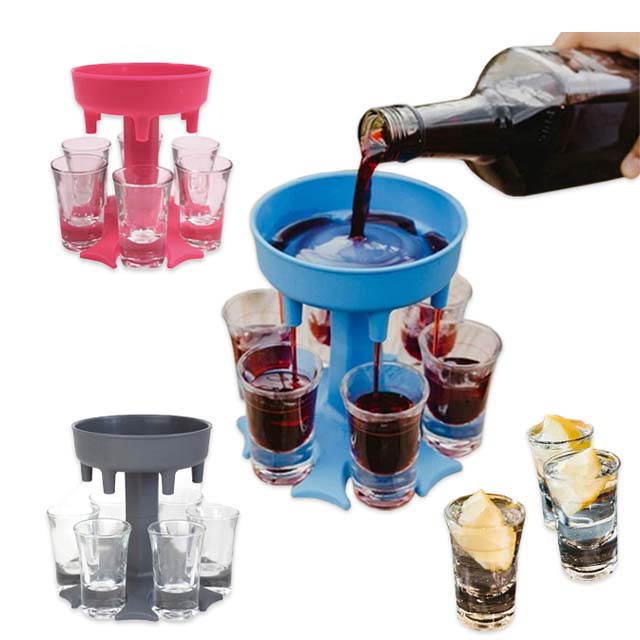Wholesale Party Beer Juice Holder Drinking Liquor Dispenser Wine Separator Products Plastic 6 Shot Glass Dispenser