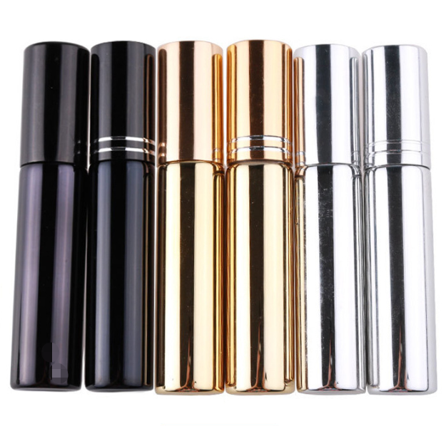 In Stock ! 10ml Black Sliver Gold Color UV Coated Empty Glass Perfume Bottle With Spray Cap