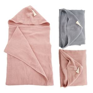100% Organic Cotton 4 Layers Muslin Baby Bath Towel Baby Blanket With Hood