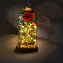 Saint Valentin Red Artificial Rose Flower Valentine Gifts with Led Lights in Glass Dome for Valentines Day Gifts 2020