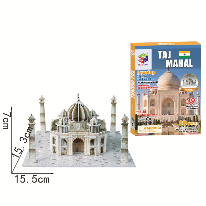 Amazon Hot Selling Educational Toys Magic Puzzle India Taj Mahal Model Toys Architecture Building 3D Puzzle For Kids DIY Play