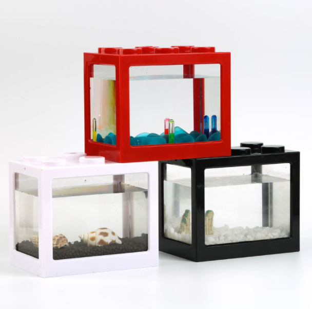Mini aquarium fish tank with USB LED lighting small aquarium office viewing transparent acrylic fish tank