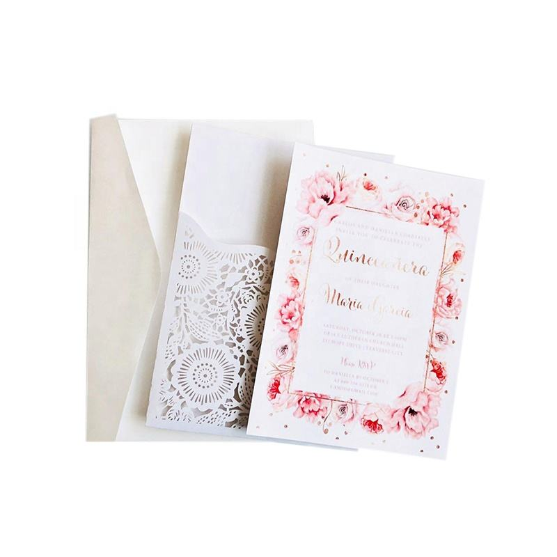 Laser Cut Lace Pocket Wedding Invitations Card Flower Customize Greeting Card Wedding Party Decoration