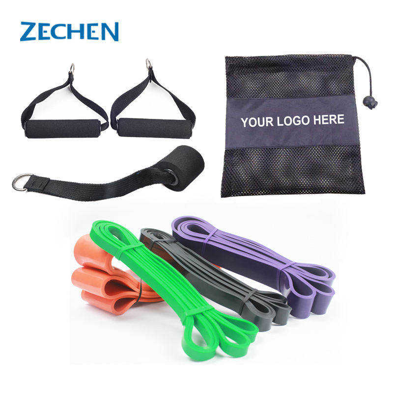 Home exercise circular resistance bands with handles and door jam