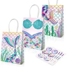 Mermaid Party Supplies Favors Bag Glitter Treat Bags for Under the Sea Party Mermaid Gifts for Girls Nicorn Gift Bags