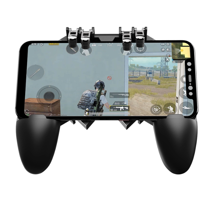portable wireless gamepad for mobile gaming with 6 finger triggers extended handle holder