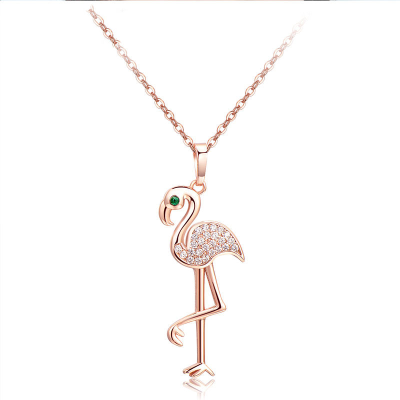 925 Sterling Zilver Fashion Rose Gold <span class=keywords><strong>Flamingo</strong></span> Sieraden <span class=keywords><strong>Ketting</strong></span> Voor Vrouwen Verjaardagscadeau