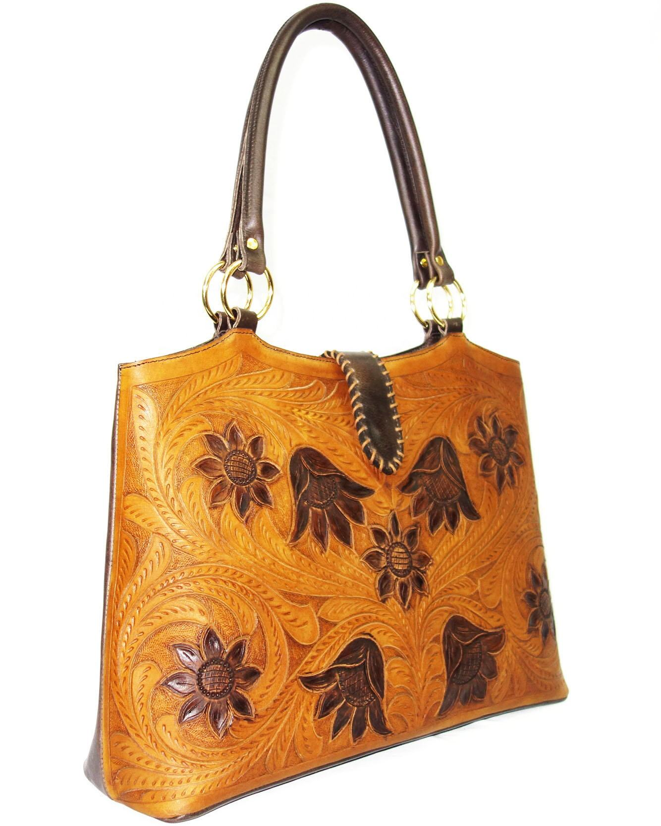 Wholesale Leather Handtooled Handbags in Mustard color, 100% Real Leather at Factory Price
