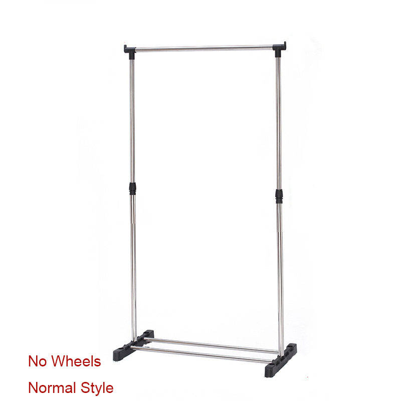 Stainless Steel With Wheels Up And Down Adjustable Left And Right Telescopic Clothes Hangers