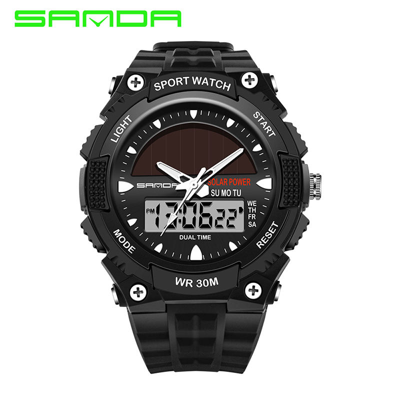SANDA 719 Big Dial Men's Digital S SHOCK Watch Golden Military Water Resistant Stop LED Sports Wristwatches Dual Display