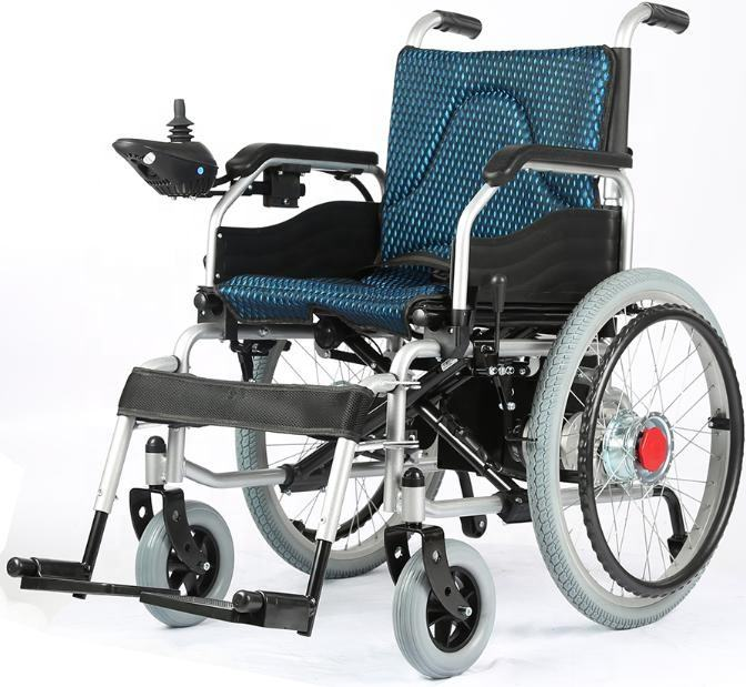 Rehabilitation therapy supplies foldable light weight power electric wheelchairs for elderly.