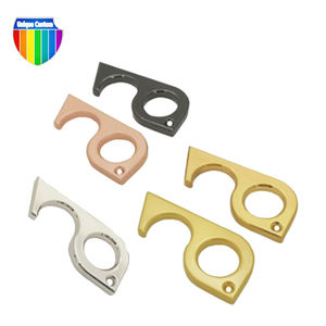 Antimicrobial Metal Logo Custom Zinc Alloy Brass Hygiene Hand Door Opener No Touch Tool Keychain