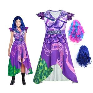 Fancy Descendants 3 Costumes Cosplay Children's Dress Girls Purple Short Sleeved Dresses Masquerade Clothing With Wig