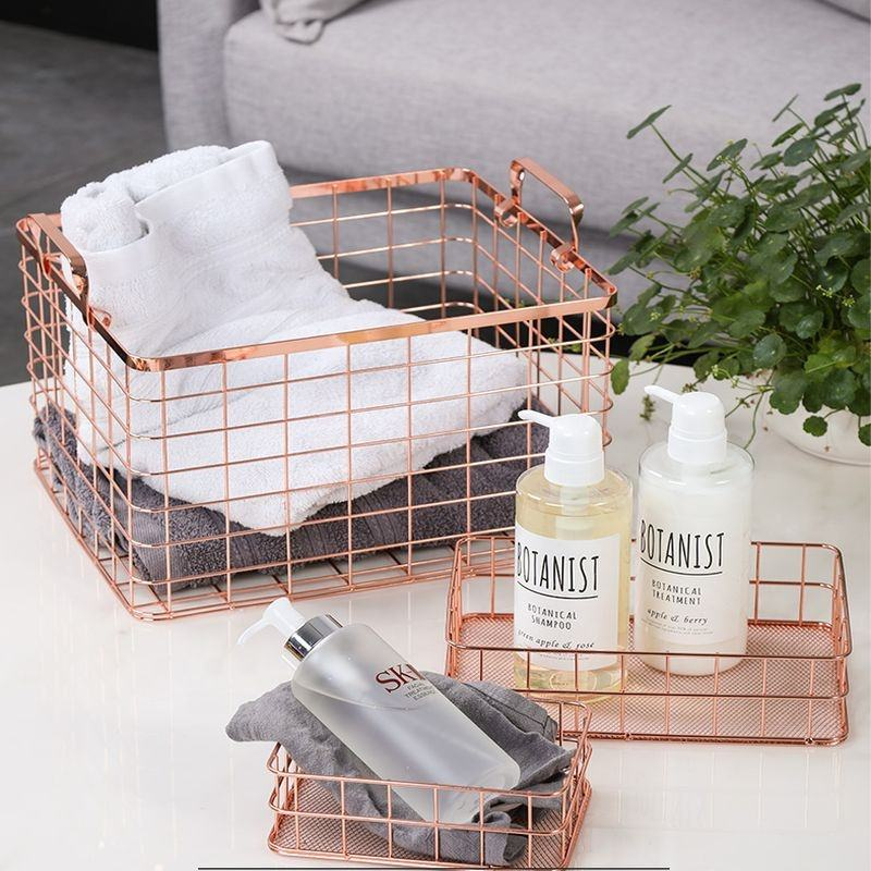 Laundry Basket Kitchen Stainless Steel Modern Home Bathroom Organizer Rose Gold Metal Wire Mesh Clothes Storage Laundry Baskets