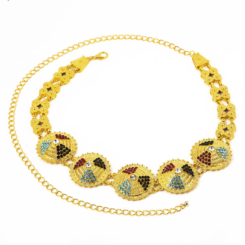 Ethlyn Hot Sale Popular Body Jewelry Girls Performance Indian Bellydance Belt Gold Color Waist Chain Party Wedding S109