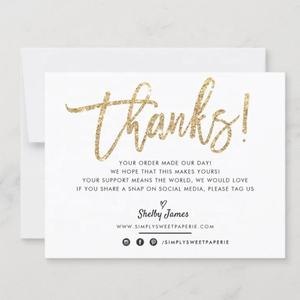 Custom Gold Foil Printable Insert Cards For Orders Business Thank You Card, Thank You For Supporting Small Business Cards