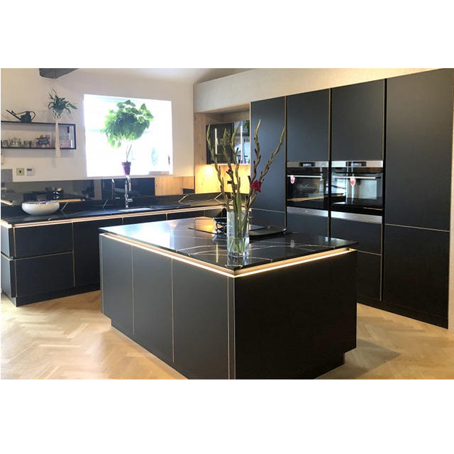 2020 latest wholesale matt black lacquer design kitchen or PVC finish modern kitchen cabinet