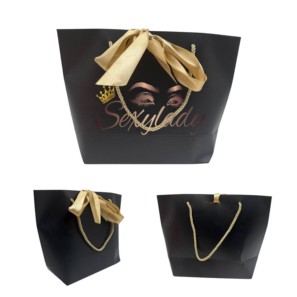Wholesale Custom logo hair packaging bag Recyclable kraft paper bag shopping Gift Bag With Handles