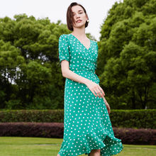 naivee Summer French Style Hepburn Green Dot breathable wraped women dress