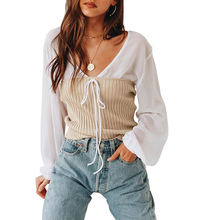 Wholesale Autumn Loose V Neck Two Piece Lace-Up Autumn Blouse Women 2020 T Shirts