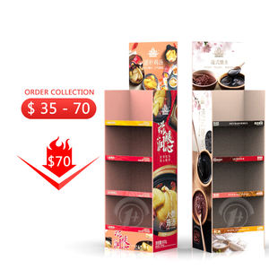 Vegetable Knives Coffee Cup Product Corrugated Cardboard Carton Chocolate Pop Paper Floor Display Stand Shelve for Promotion