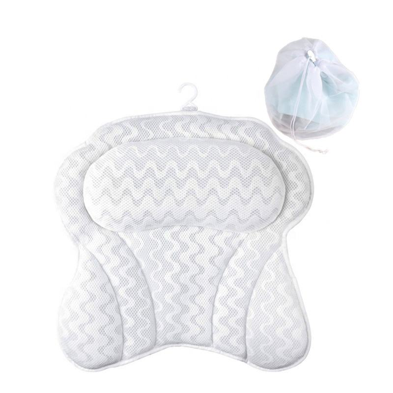 Quick Dry Air Mesh Bathtub Pillow for Neck and Shoulder Support Anti-Slip Spa Bath Pillow for Tub (with Washing Bag)