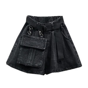 OEM Design Elastic High Waistband Casual Loose Plus Size 5 XL Denim Shorts Women Black Let Big Pocket Boots Shorts Women
