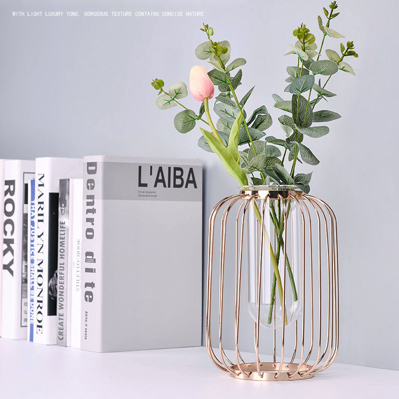Flower Vases Small Nordic Plant Bud Modern Clear Cheap Decoration Rose Gold Wedding Glass Flower Metal Vases For Home Decor
