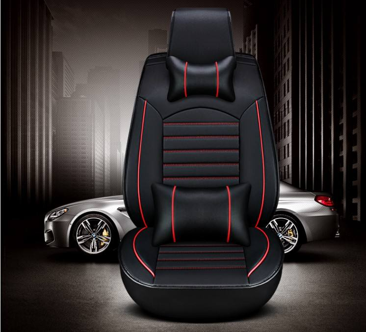 PU leather car seat cover with pillows luxury car seat cover