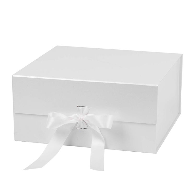High grade custom luxury logo printed full color foldable gift box with ribbon
