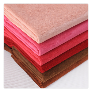 red color single brushed 110g 100 polyester suede fabric for sofa