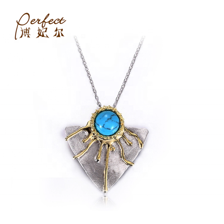 White Gold [ Necklace Gold Plated ] Necklaces Synthesis Turquoise 925 Sterling Silver Chain Necklace For Women With White Gold Plated