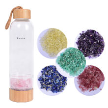 Custom Logo Glass Water Bottle Natural Crystals Healing Stones Bamboo Crystal Water Bottle