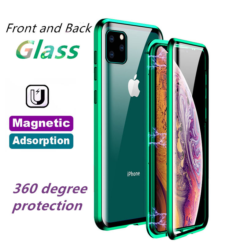 OTAO wholesale 9H Tempered Glass Case For iPhone X XR XS MAX 8 7 Plus Metal Funda Mobile Flip Cover Coque For iphone 11 pro max