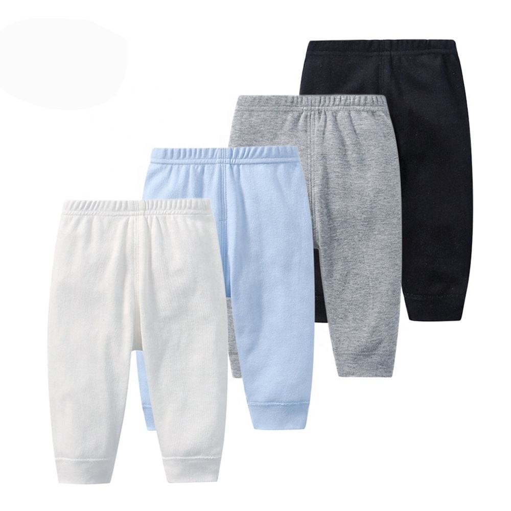 Wholesale custom logo soft breathable elastic plain color organic cotton baby jogger pants