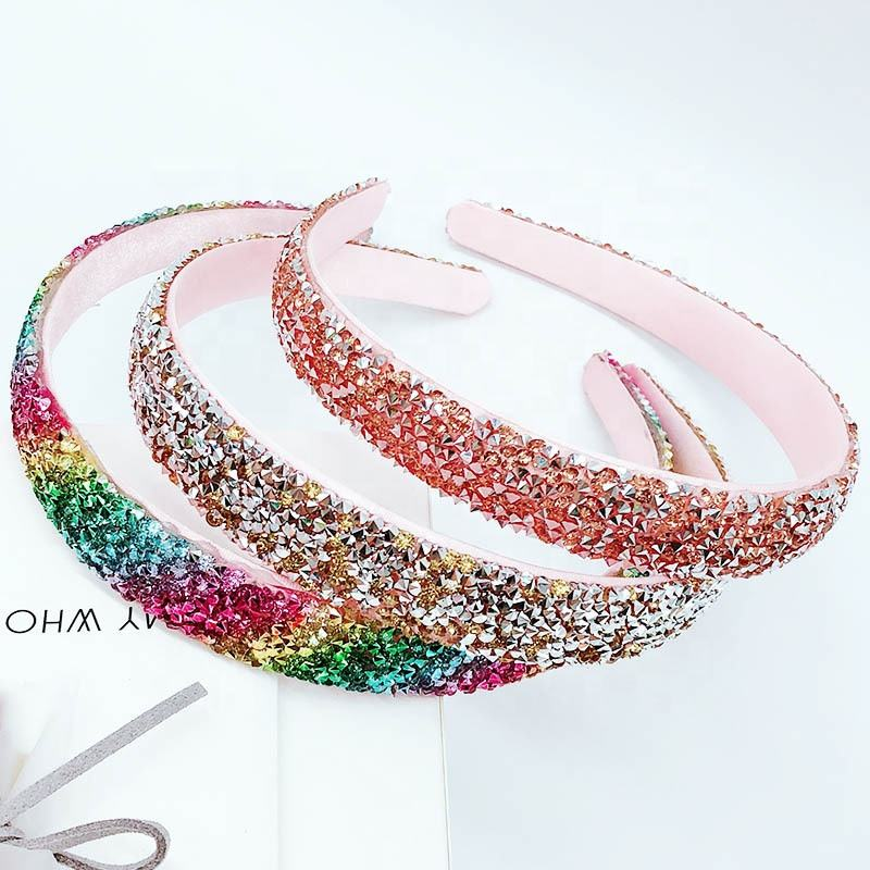 Fashion Korean Geometric Glitter Headband Women Hot Selling Sequin Dazzling Hair Accessories Handmade Exquisite Hairbands