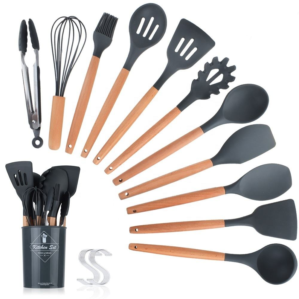 Kitchen Utensils Set with holdster 11pcs Natural Wooden Handles Cooking Tools Turner Tongs Spatula Spoon for Nonstick Cookware