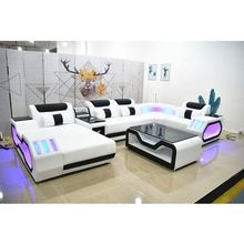 Hot Selling Modern LED Living Room Furniture Sofa Set Genuine Leather Living Room Sofas