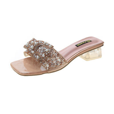 Square Heel Slippers PU Shoes Women's Sandals Large Size Medium Heel Rhinestone High Quality Women Slippers
